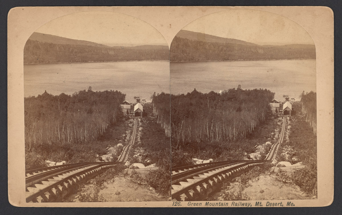 Green Mountain Railway Tracks and Station Stereograph