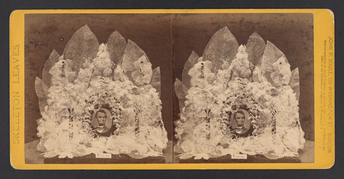 Portrait of Abraham Lincoln with Flower Arrangment Stereograph, 1874