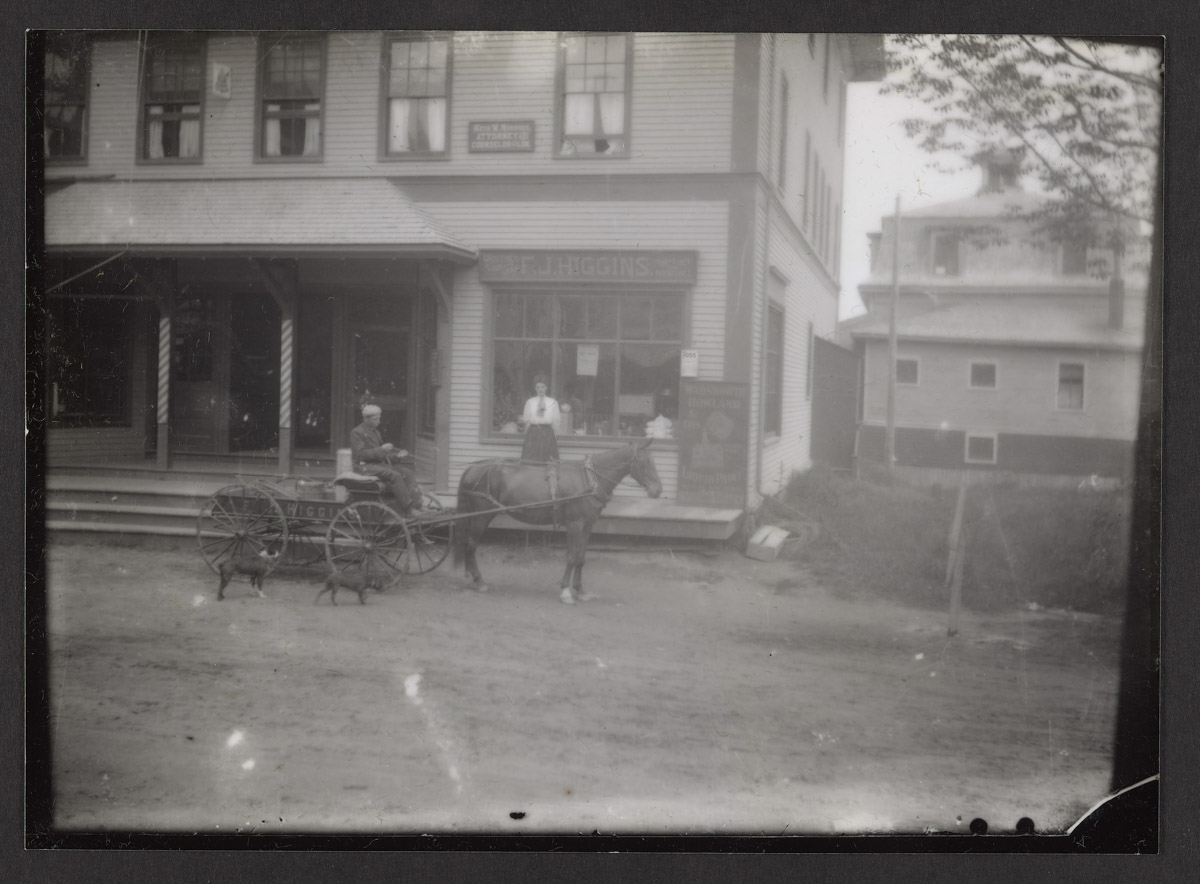 Wagon in Front of Higgins' Store Photograph