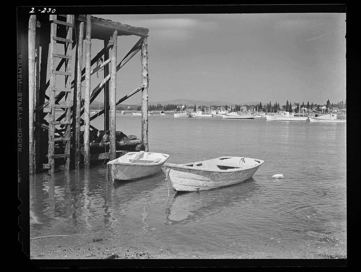 Wharf and Skiffs at Low Tide Negative, 1945